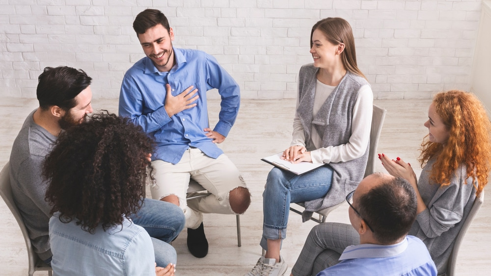 Evening IOP for Cocaine Rehab North Jersey Recovery Center - A group of individuals that have recently completed inpatient treatment are taking part in a support group meeting as part of an evening IOP for cocaine rehab.