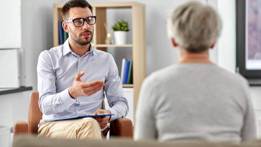 """Dexedrine Addiction, Abuse, and Treatment North Jersey Recovery Center - An older woman is meeting with an addiction specialist to discuss Dexedrine and asking: """"Is Dexedrine safe?"""" before committing to any form of treatment."""